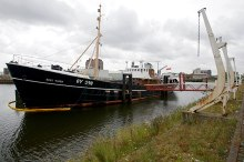 Grimsby, Alexandra Dock, Floating exhibit The Ross Tiger, Alexandra Dock, Grimsby Lincolnshire © Dave Hitchborne